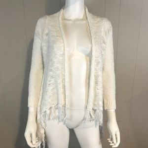 Poor Girl Women's Small White Open Front Sweater